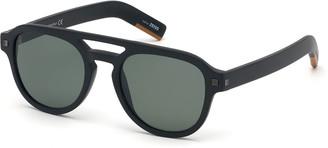 Ermenegildo Zegna Men's Rectangular Acetate Pilot Sunglasses - Polarized