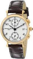 Frederique Constant Women's FC291A2R5 Classics Gold-Tone Stainless Steel Watch with Brown Leather Band