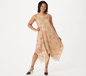 Tolani Collection Sleeveless Embroidered Mesh Midi Dress