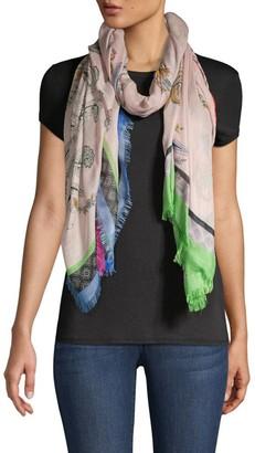 Etro Blush Floral Paisley Cashmere & Silk Raji Scarf