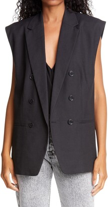 Frame Oversized Double Breasted Linen Blend Vest