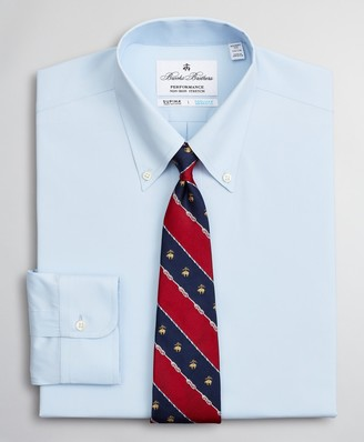 Brooks Brothers Regent Fitted Dress Shirt, Performance Non-Iron with COOLMAX, Button-Down Collar Twill