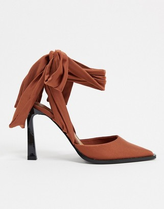 ASOS DESIGN Pine tie leg high shoes in mocha