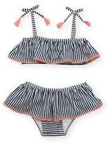 Jessica Simpson 2-Piece Striped Spaghetti Strap Bikini Swimsuit in Navy/White