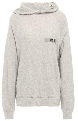 R 13 Distressed French Cotton-terry Hooded Sweatshirt