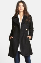 GUESS Petite Women's Double Breasted Boucle Cutaway Coat