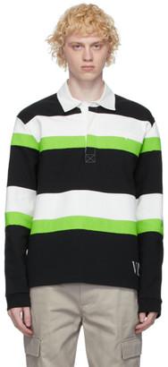 Valentino Black and Green Jelly Block Long Sleeve Polo