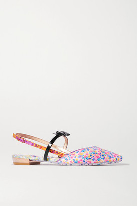 Sophia Webster Laurellie Floral-print Satin And Patent-leather Slingback Point-toe Flats - Pink