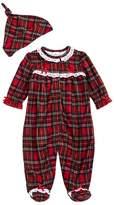 Little Me Plaid One-Piece Pajamas & Hat Set