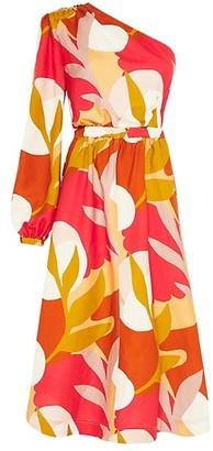 Rebecca Vallance Sangria One-Sleeve Midi Dress