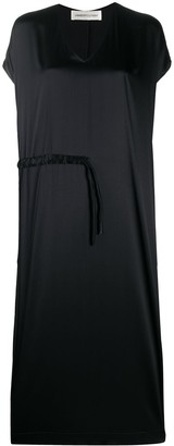 Lamberto Losani V-Neck Drawstring Waist Dress