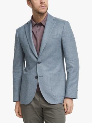 John Lewis & Partners Wool Cotton Cashmere Herringbone Blazer, Light Blue