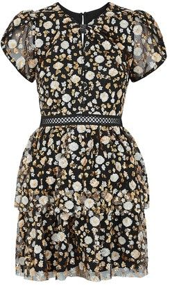 Self-Portrait Black Sequin-embellished Tulle Mini Dress