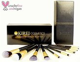 Kirei Cosmetics Best Professional Makeup Brush Set with Designer Luxury Case - Cruelty Free, Vegan, Synthetic - 10 Pieces - Includes Stippling, Foundation, Eyeshadow, Eyebrow Brush - Great Valentine Day Gift