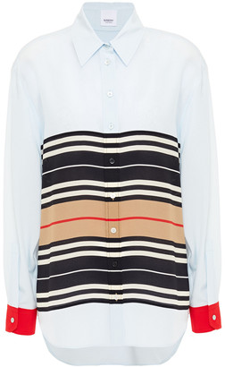 Burberry Striped Silk Crepe De Chine Shirt
