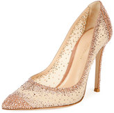 Gianvito Rossi Rania Crystal Illusion 105mm Pump, Praline/Nude