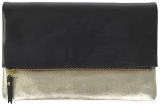 Fold Over Leather Clutch Bag