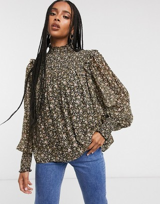 And other stories & chiffon smocked floral print blouse in black