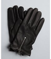 John Varvatos black leather zip wool and cashmere lined gloves