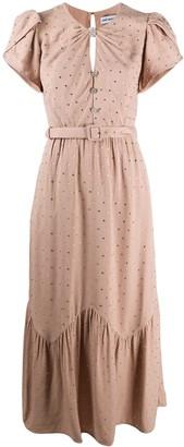 Self-Portrait Rhinestone-Embellished Belted Dress
