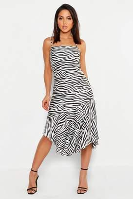 boohoo Zebra Satin Asymmetric Midi Slip Dress