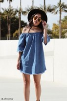 Forever 21 FOREVER 21+ Off-the-Shoulder Denim Dress