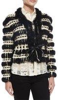 Just Cavalli Crochet & Fur Cropped Jacket
