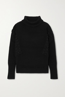 Palmer Harding Ateli Ribbed Cotton And Cashmere-blend Turtleneck Sweater - Black