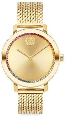 Movado Bold Evolution Yellow Gold IP & Rainbow Crystal Mesh Bracelet Watch