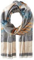 Salvatore Ferragamo Multi Color Stripe Cotton/Cashmere Scarf Scarves