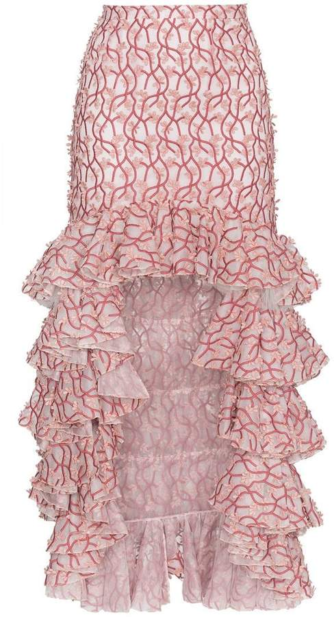 Giambattista Valli Floral ruffle asymmetric skirt