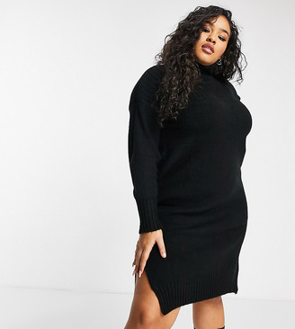 Simply Be roll neck jumper dress in black