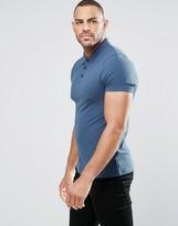 Asos Muscle Pique Polo Shirt In Cadet Blue
