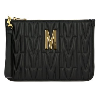 Moschino Clutch Clutch Bag In Quilted Leather With Big Monogram