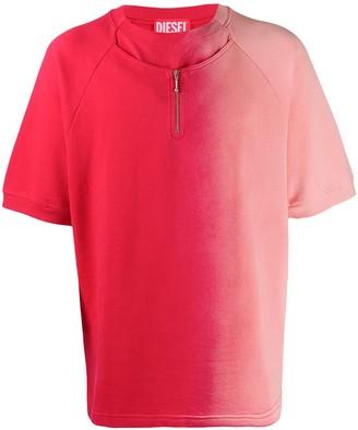 Diesel Red Tag half zip gradient T-shirt