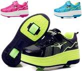 PPXID Boy's Girl's Adult's Single Wheel/Double Wheels Skate Shoes Roller Sneakers-Green 43 CN