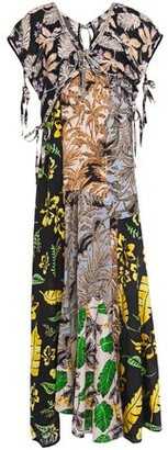3.1 Phillip Lim Patchwork Printed Silk-crepe And Woven Maxi Dress