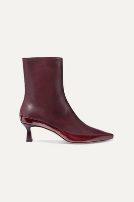 Wandler Bente Matte And Patent-leather Ankle Boots - Burgundy