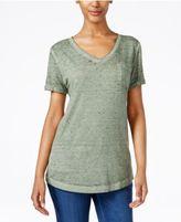 Style&Co. Style & Co V-Neck Burnout Pocket T-Shirt, Only at Macy's