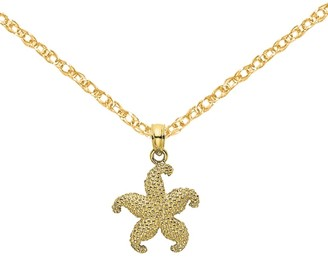 10K Yellow Gold 2-D Puffed Starfish Pendant with 18-inch Cable Rope Chain by Versil