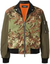 DSQUARED2 camouflage leather accent bomber - men - Cotton/Polyamide/Polyester/Polyurethane - 46