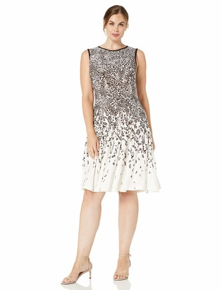 Gabby Skye Women's Plus Size Sleeveless Round Neck ITY Fit and Flare Dress
