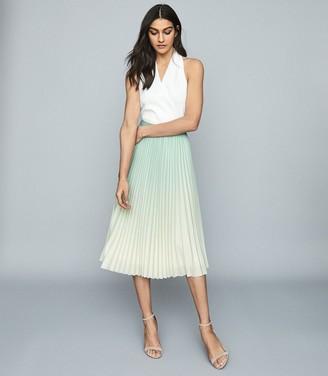 Reiss Mila - Ombre Pleated Midi Skirt in Aqua
