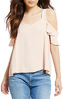 Sanctuary Annie Cold-Shoulder Ruffle Sleeve Solid Blouse