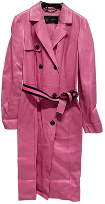 Versace Pink Leather Trench coats