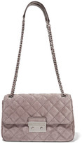 MICHAEL Michael Kors Sloan Large Quilted Suede Shoulder Bag - Taupe
