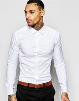 Asos Smart Skinny Oxford Shirt In White