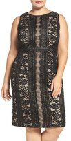 Adrianna Papell Adriannal Papell Stripe Embroidered Lace Sheath Dress (Plus Size)