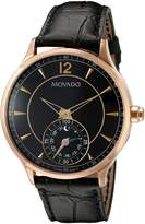 Movado Men's Swiss Quartz Gold-Tone and Leather Watch, Color: (Model: 0660009)