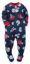 Carter's Football Helmet Zip-Front Footed Pajama in Navy